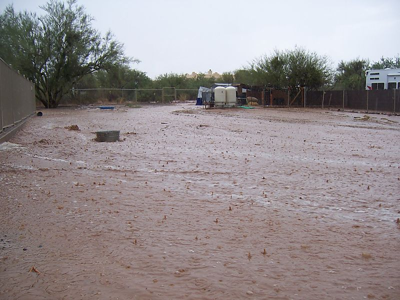 Flooded farmyard